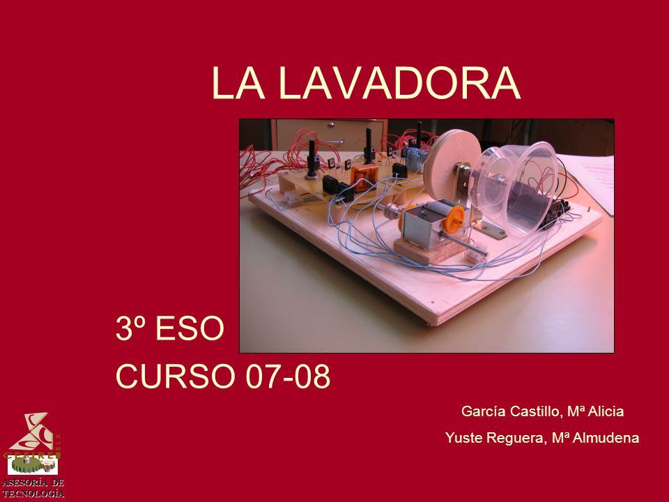 ASESORÍA DE TECNOLOGÍA PROPUESTA García Castillo, Mª Alicia Yuste Reguera, Mª Almudena Diseña y construye una maqueta que simule el funcionamiento de una lavadora que cumpla los siguientes requisitos: -Debe tener tres movimientos.