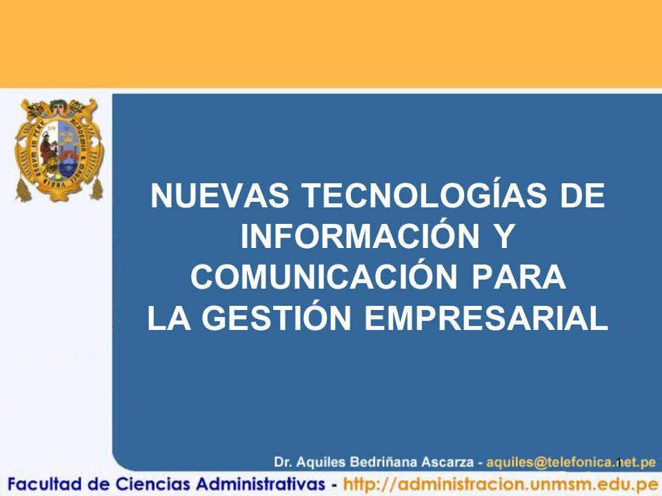 1 NUEVAS TECNOLOGÍAS DE INFORMACIÓN Y COMUNICACIÓN PARA LA GESTIÓN EMPRESARIAL