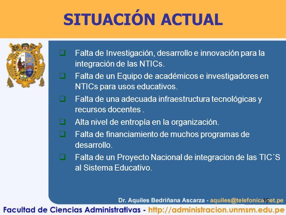 15 Falta de Investigación, desarrollo e innovación para la integración de las NTICs. Falta de un Equipo de académicos e investigadores en NTICs para u