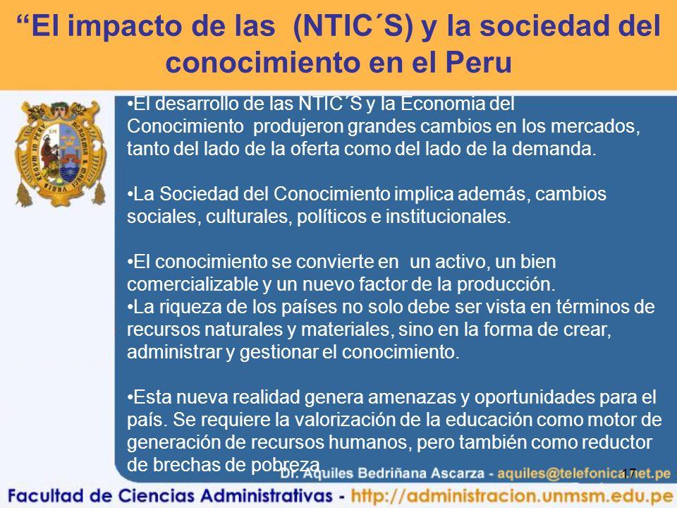 17 El impacto de las (NTIC´S) y la sociedad del conocimiento en el Peru El desarrollo de las NTIC´S y la Economia del Conocimiento produjeron grandes cambios en los mercados, tanto del lado de la oferta como del lado de la demanda.