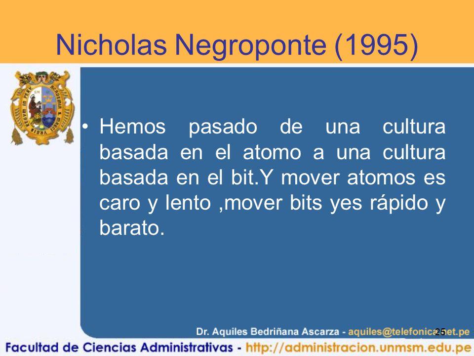 25 Nicholas Negroponte (1995) Hemos pasado de una cultura basada en el atomo a una cultura basada en el bit.Y mover atomos es caro y lento,mover bits