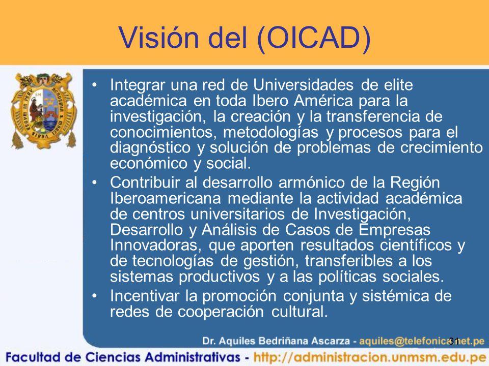 31 Visión del (OICAD) Integrar una red de Universidades de elite académica en toda Ibero América para la investigación, la creación y la transferencia de conocimientos, metodologías y procesos para el diagnóstico y solución de problemas de crecimiento económico y social.