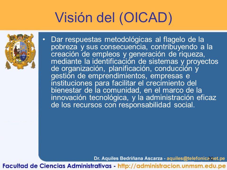 32 Visión del (OICAD) Dar respuestas metodológicas al flagelo de la pobreza y sus consecuencia, contribuyendo a la creación de empleos y generación de