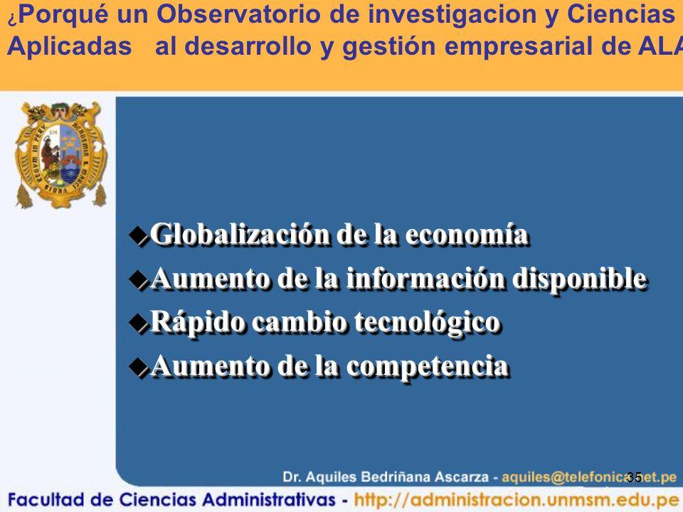 35 u Globalización de la economía u Aumento de la información disponible u Rápido cambio tecnológico u Aumento de la competencia u Globalización de la