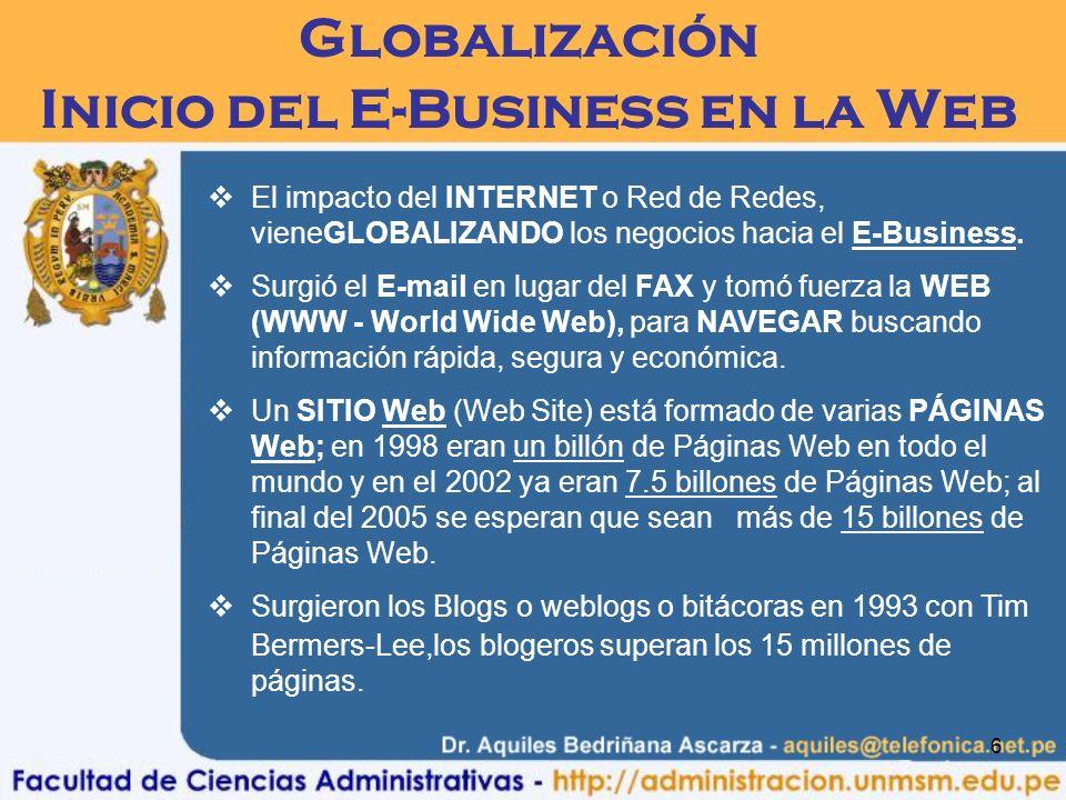 6 Globalización Inicio del E-Business en la Web El impacto del INTERNET o Red de Redes, vieneGLOBALIZANDO los negocios hacia el E-Business. Surgió el