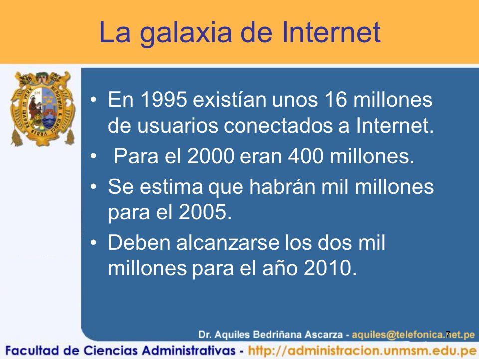 7 La galaxia de Internet En 1995 existían unos 16 millones de usuarios conectados a Internet. Para el 2000 eran 400 millones. Se estima que habrán mil