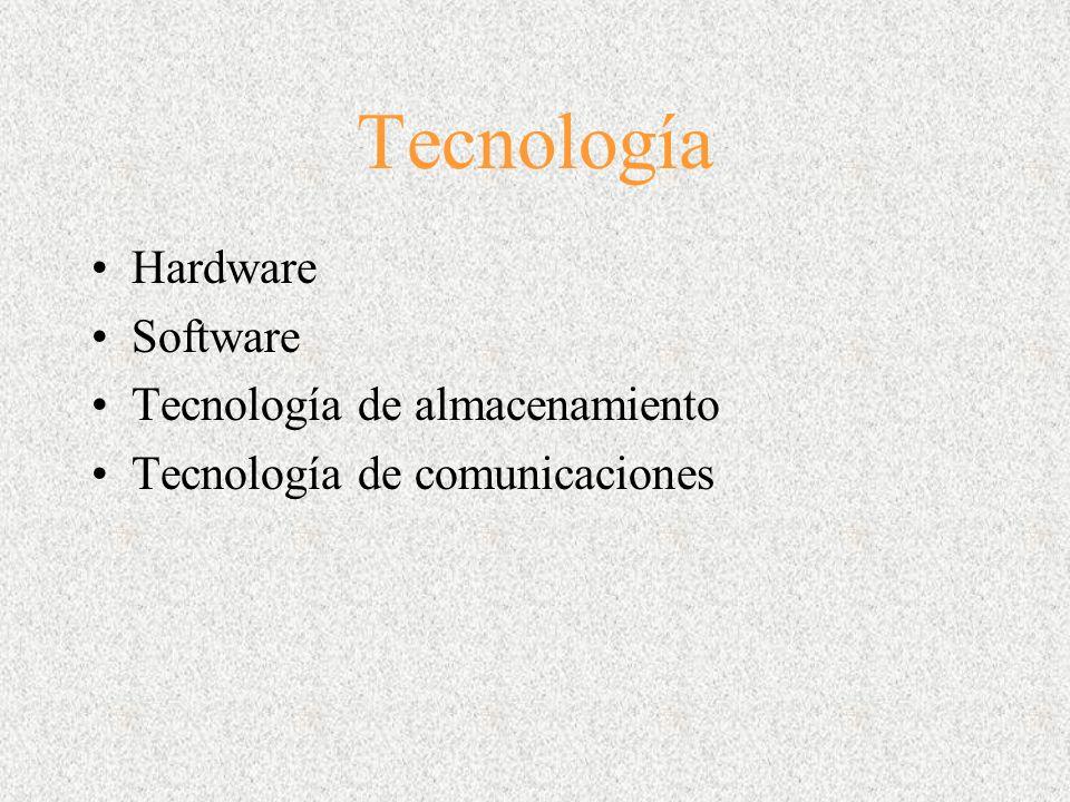 Tecnología Hardware Software Tecnología de almacenamiento Tecnología de comunicaciones