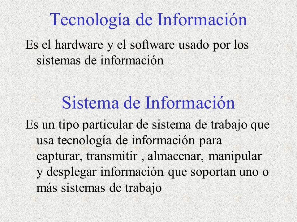 Tecnología de Información Es el hardware y el software usado por los sistemas de información Sistema de Información Es un tipo particular de sistema de trabajo que usa tecnología de información para capturar, transmitir, almacenar, manipular y desplegar información que soportan uno o más sistemas de trabajo
