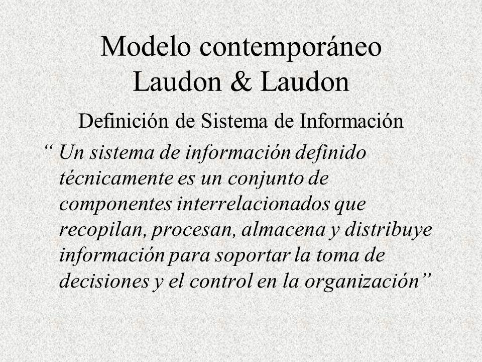 Modelo contemporáneo Laudon & Laudon Definición de Sistema de Información Un sistema de información definido técnicamente es un conjunto de componentes interrelacionados que recopilan, procesan, almacena y distribuye información para soportar la toma de decisiones y el control en la organización