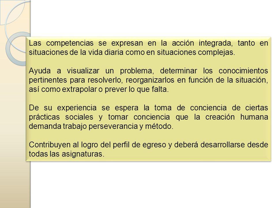 Las competencias se expresan en la acción integrada, tanto en situaciones de la vida diaria como en situaciones complejas. Ayuda a visualizar un probl