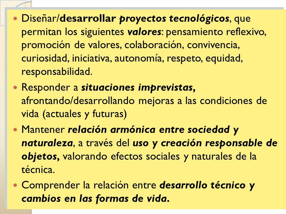 Diseñar/desarrollar proyectos tecnológicos, que permitan los siguientes valores: pensamiento reflexivo, promoción de valores, colaboración, convivenci