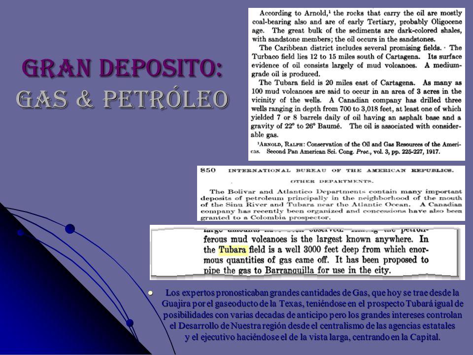 Gran Deposito: GAS & PETRÓLEO Los expertos pronosticaban grandes cantidades de Gas, que hoy se trae desde la Guajira por el gaseoducto de la Texas, te