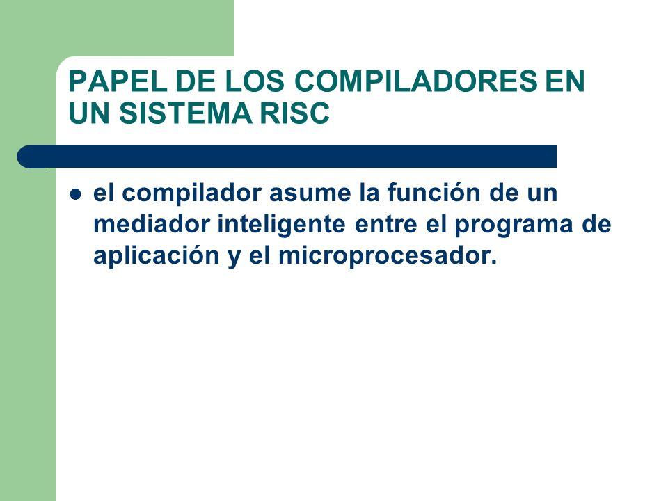 PAPEL DE LOS COMPILADORES EN UN SISTEMA RISC el compilador asume la función de un mediador inteligente entre el programa de aplicación y el microprocesador.