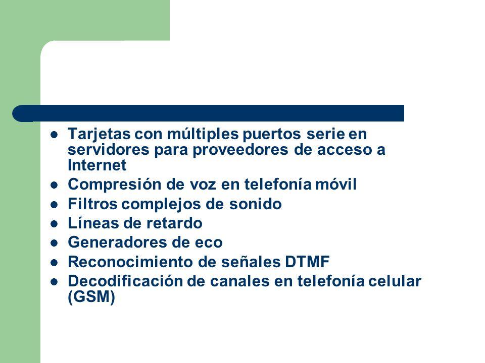 Tarjetas con múltiples puertos serie en servidores para proveedores de acceso a Internet Compresión de voz en telefonía móvil Filtros complejos de sonido Líneas de retardo Generadores de eco Reconocimiento de señales DTMF Decodificación de canales en telefonía celular (GSM)
