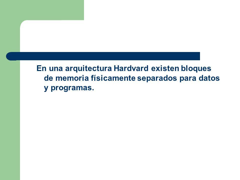 En una arquitectura Hardvard existen bloques de memoria físicamente separados para datos y programas.