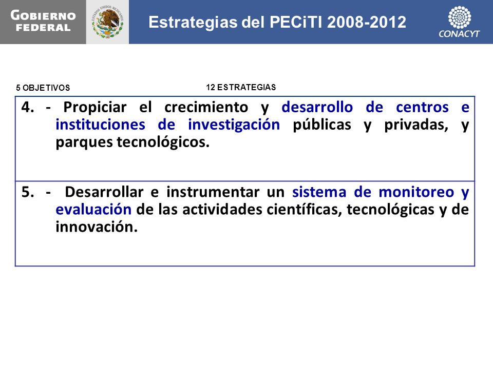 4. - Propiciar el crecimiento y desarrollo de centros e instituciones de investigación públicas y privadas, y parques tecnológicos. 5.- Desarrollar e