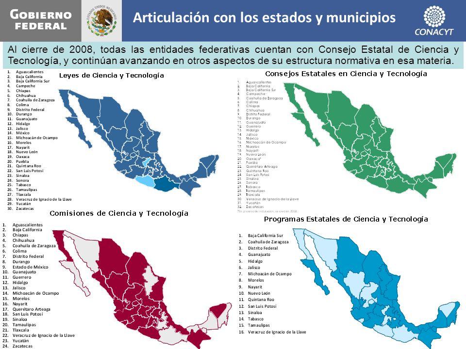 Articulación con los estados y municipios Al cierre de 2008, todas las entidades federativas cuentan con Consejo Estatal de Ciencia y Tecnología, y co