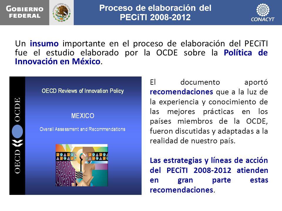 Proceso de elaboración del PECiTI 2008-2012 Un insumo importante en el proceso de elaboración del PECiTI fue el estudio elaborado por la OCDE sobre la