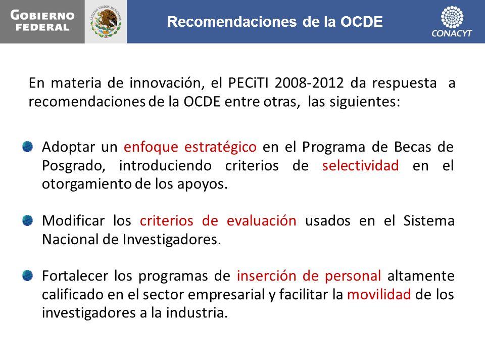 En materia de innovación, el PECiTI 2008-2012 da respuesta a recomendaciones de la OCDE entre otras, las siguientes: Adoptar un enfoque estratégico en