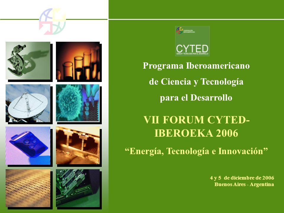 Programa Iberoamericano de Ciencia y Tecnología para el Desarrollo VII FORUM CYTED- IBEROEKA 2006 Energía, Tecnología e Innovación 4 y 5 de diciembre de 2006 Buenos Aires - Argentina