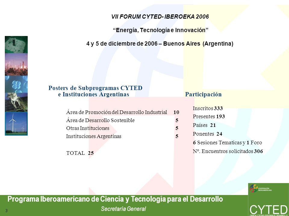 Programa Iberoamericano de Ciencia y Tecnología para el Desarrollo Secretaría General 4 Tipo de Participantes Empresas 47% I+D / Universidad 38% Otros 15% Encuentros Multilaterales Solicitados 306 Programados 306 Realizados 200 VII FORUM CYTED- IBEROEKA 2006 Energía, Tecnología e Innovación 4 y 5 de diciembre de 2006 – Buenos Aires (Argentina)