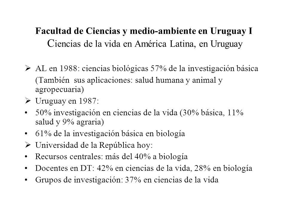 Facultad de Ciencias y medio-ambiente en Uruguay II Creación y desarrollo inicial de la Facultad de Ciencias Creación en 1990; dos grandes objetivos iniciales: a) lograr avances...