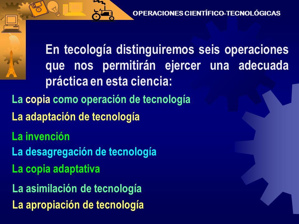 OPERACIONES CIENTÍFICO-TECNOLÓGICAS Pero la práctica, necesita la operación.