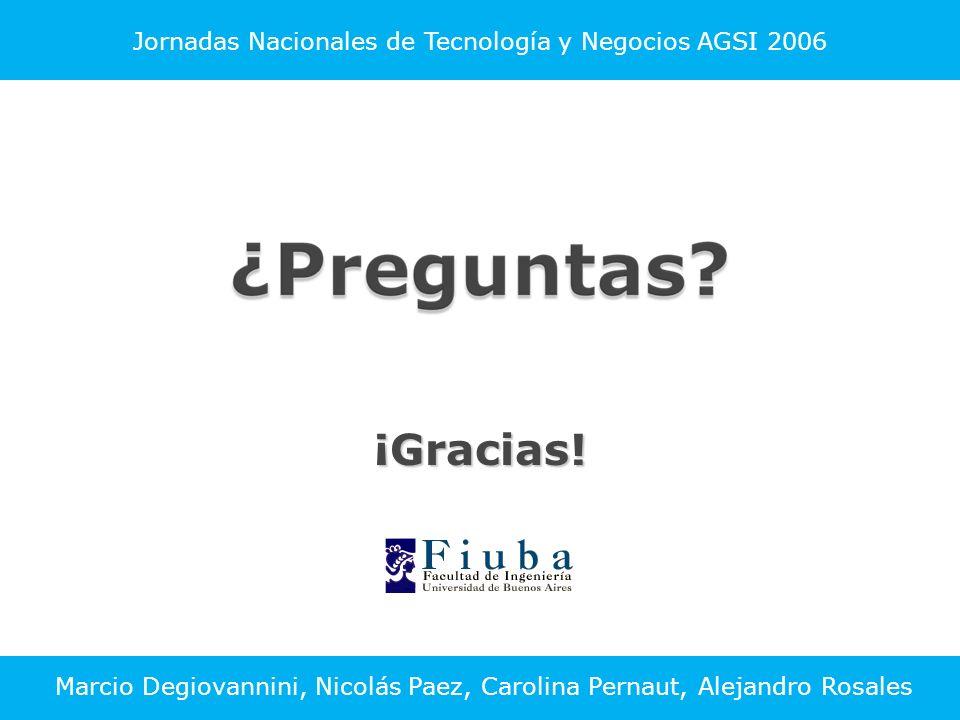 Jornadas Nacionales de Tecnología y Negocios AGSI 2006¡Gracias.
