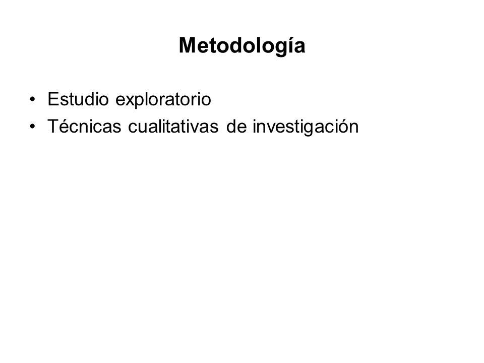 Metodología Estudio exploratorio Técnicas cualitativas de investigación