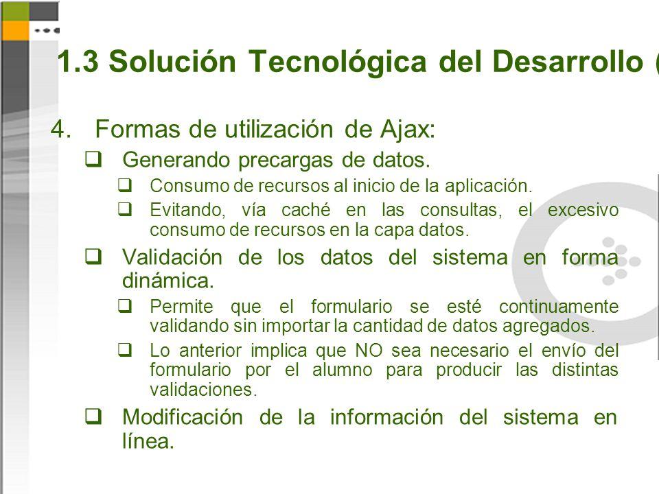 1.3 Solución Tecnológica del Desarrollo (8) Formas de utilización de Ajax: Generando precargas de datos.