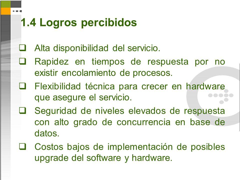 1.4 Logros percibidos Alta disponibilidad del servicio.
