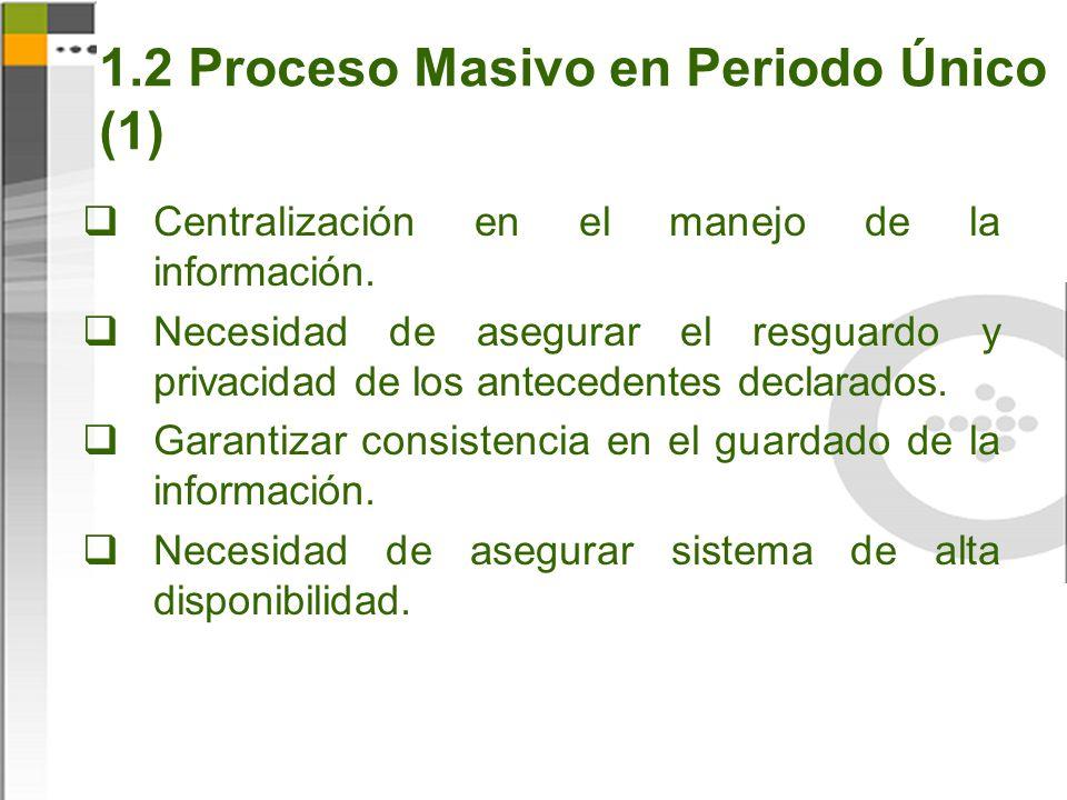 1.2 Proceso Masivo en Periodo Único (1) Centralización en el manejo de la información.