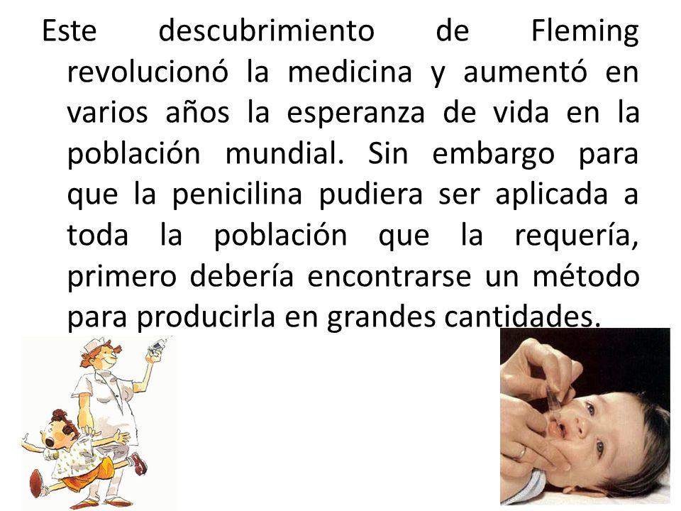Este descubrimiento de Fleming revolucionó la medicina y aumentó en varios años la esperanza de vida en la población mundial. Sin embargo para que la