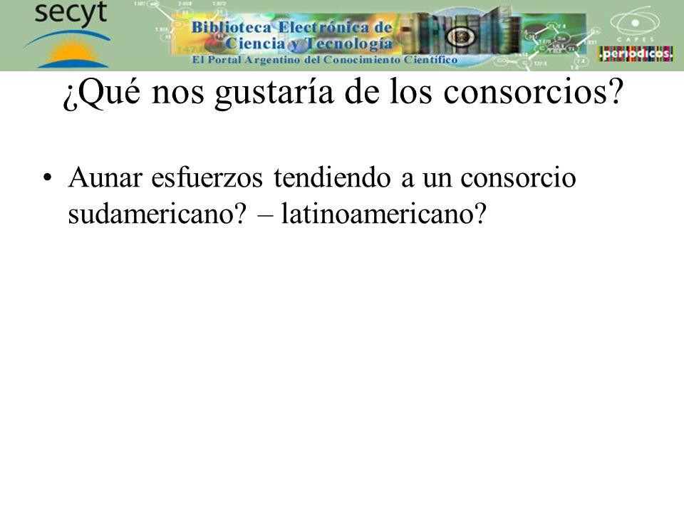 ¿Qué nos gustaría de los consorcios. Aunar esfuerzos tendiendo a un consorcio sudamericano.