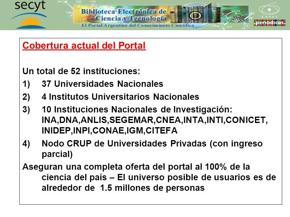 Cobertura actual del Portal Un total de 52 instituciones: 1)37 Universidades Nacionales 2)4 Institutos Universitarios Nacionales 3)10 Instituciones Na