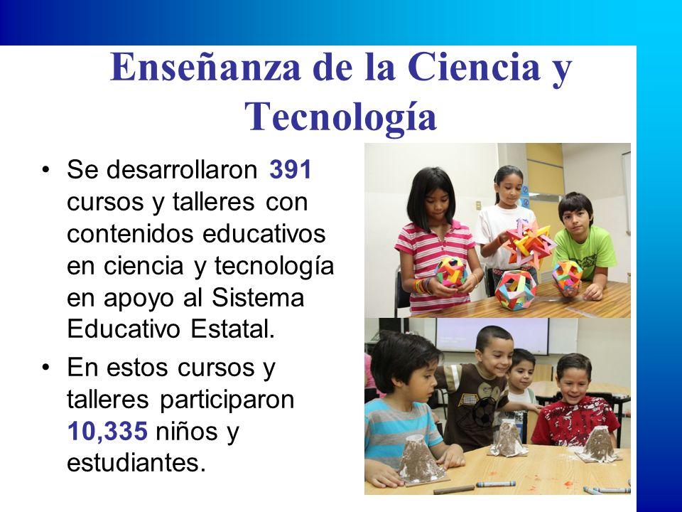 Enseñanza de la Ciencia y Tecnología Se desarrollaron 391 cursos y talleres con contenidos educativos en ciencia y tecnología en apoyo al Sistema Educ