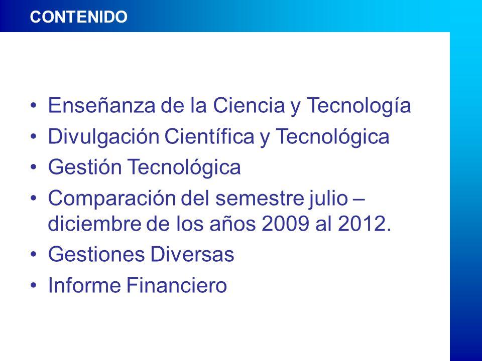 CONTENIDO Enseñanza de la Ciencia y Tecnología Divulgación Científica y Tecnológica Gestión Tecnológica Comparación del semestre julio – diciembre de los años 2009 al 2012.