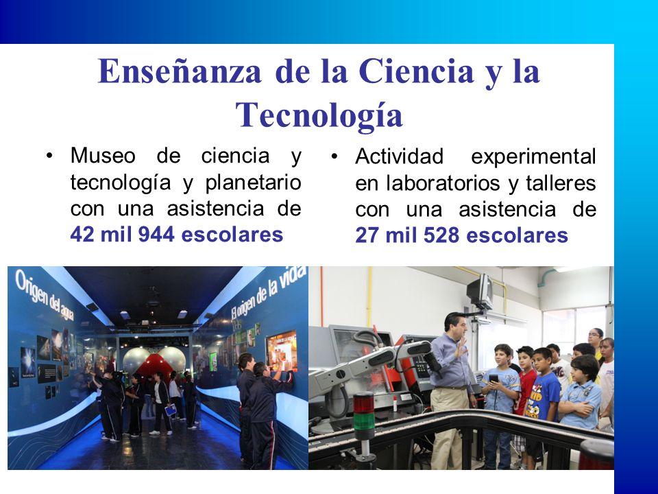 Enseñanza de la Ciencia y Tecnología Se tuvo una asistencia de 4,262 estudiantes con acceso a información relevante y actualizada a través de su visita a la bibliohemeroteca, bancos de información, sala de internet, videoteca y sala de consulta de la institución.