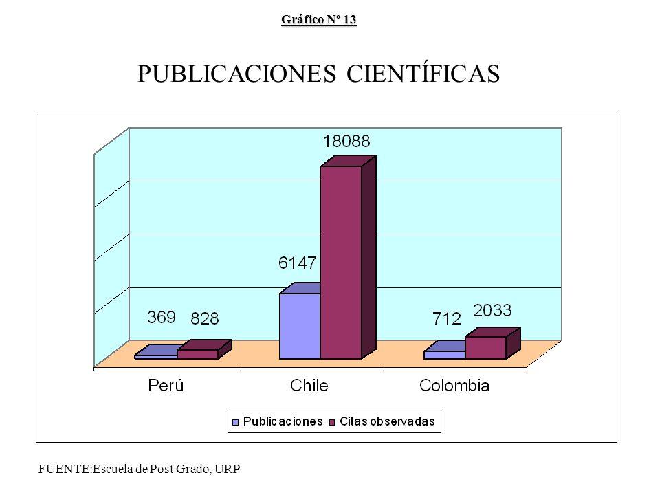 Gráfico Nº 13 Gráfico Nº 13 PUBLICACIONES CIENTÍFICAS FUENTE:Escuela de Post Grado, URP