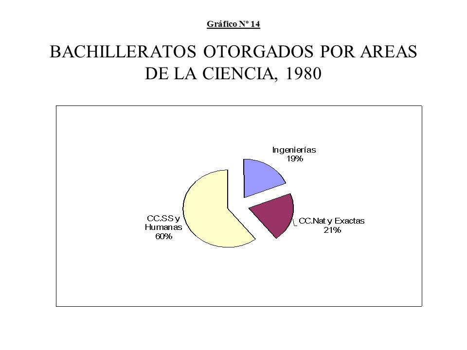 Gráfico Nº 14 Gráfico Nº 14 BACHILLERATOS OTORGADOS POR AREAS DE LA CIENCIA, 1980