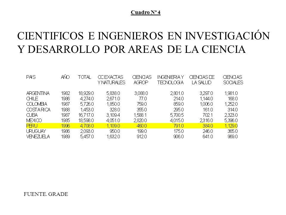 Cuadro Nº 4 CIENTIFICOS E INGENIEROS EN INVESTIGACIÓN Y DESARROLLO POR AREAS DE LA CIENCIA FUENTE.
