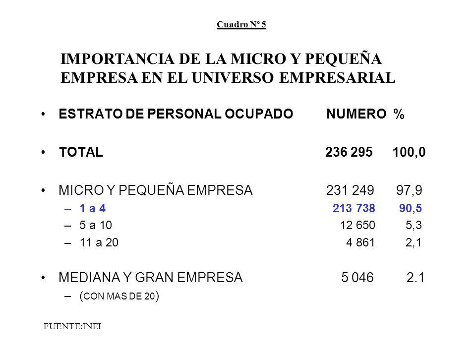 ESTRATO DE PERSONAL OCUPADONUMERO % TOTAL 236 295 100,0 MICRO Y PEQUEÑA EMPRESA 231 249 97,9 –1 a 4 213 738 90,5 –5 a 10 12 650 5,3 –11 a 20 4 861 2,1 MEDIANA Y GRAN EMPRESA 5 046 2.1 –( CON MAS DE 20 ) Cuadro Nº 5 IMPORTANCIA DE LA MICRO Y PEQUEÑA EMPRESA EN EL UNIVERSO EMPRESARIAL FUENTE:INEI