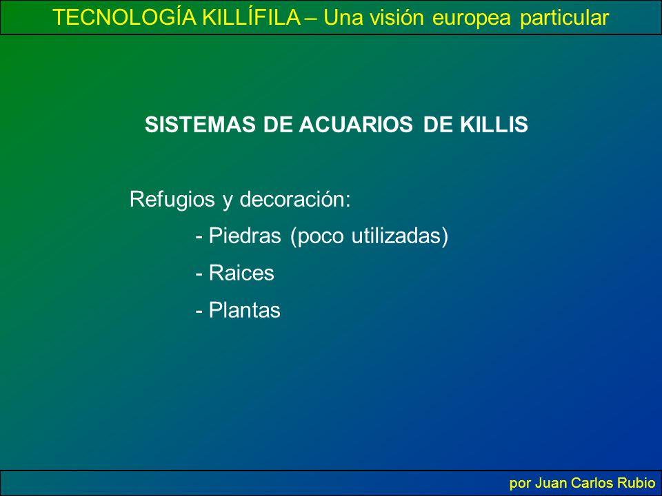 TECNOLOGÍA KILLÍFILA – Una visión europea particular por Juan Carlos Rubio SISTEMAS DE ACUARIOS DE KILLIS Refugios y decoración: - Piedras (poco utilizadas) - Raices - Plantas