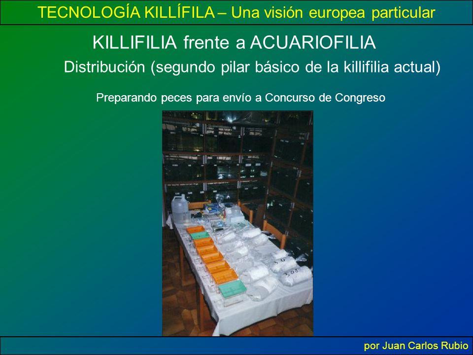 TECNOLOGÍA KILLÍFILA – Una visión europea particular por Juan Carlos Rubio KILLIFILIA frente a ACUARIOFILIA Distribución (segundo pilar básico de la killifilia actual) Preparando peces para envío a Concurso de Congreso