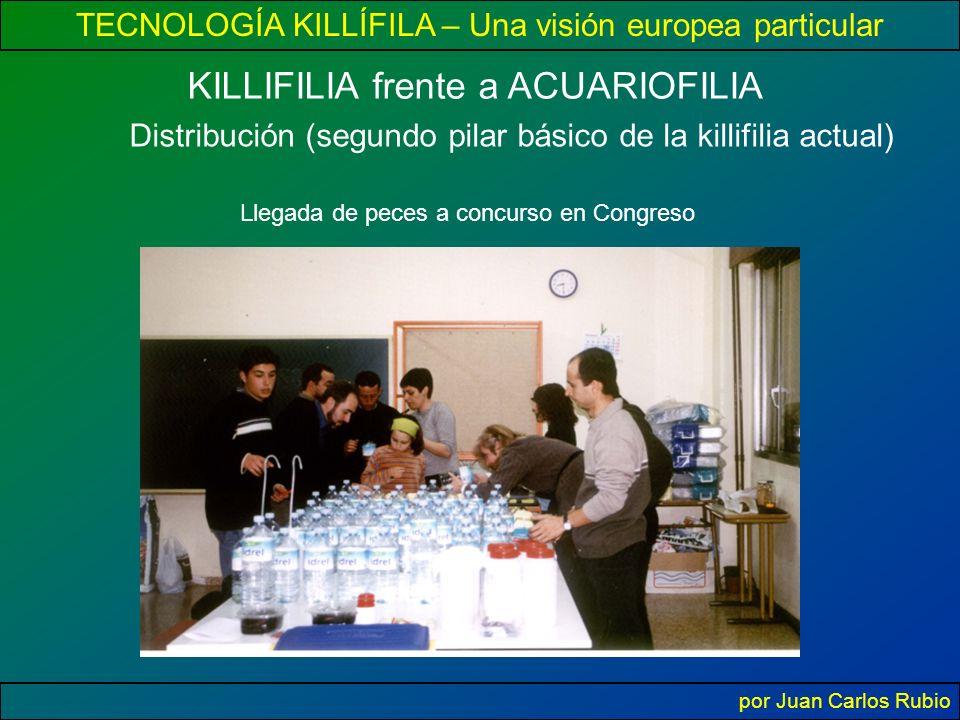 TECNOLOGÍA KILLÍFILA – Una visión europea particular por Juan Carlos Rubio KILLIFILIA frente a ACUARIOFILIA Distribución (segundo pilar básico de la killifilia actual) Llegada de peces a concurso en Congreso