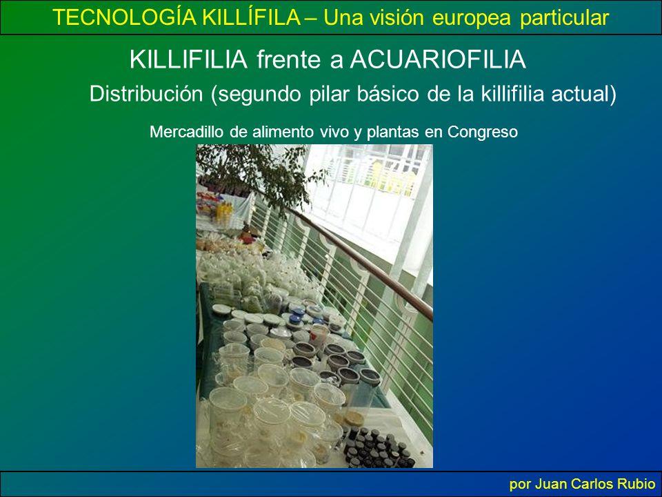 TECNOLOGÍA KILLÍFILA – Una visión europea particular por Juan Carlos Rubio KILLIFILIA frente a ACUARIOFILIA Distribución (segundo pilar básico de la killifilia actual) Mercadillo de alimento vivo y plantas en Congreso