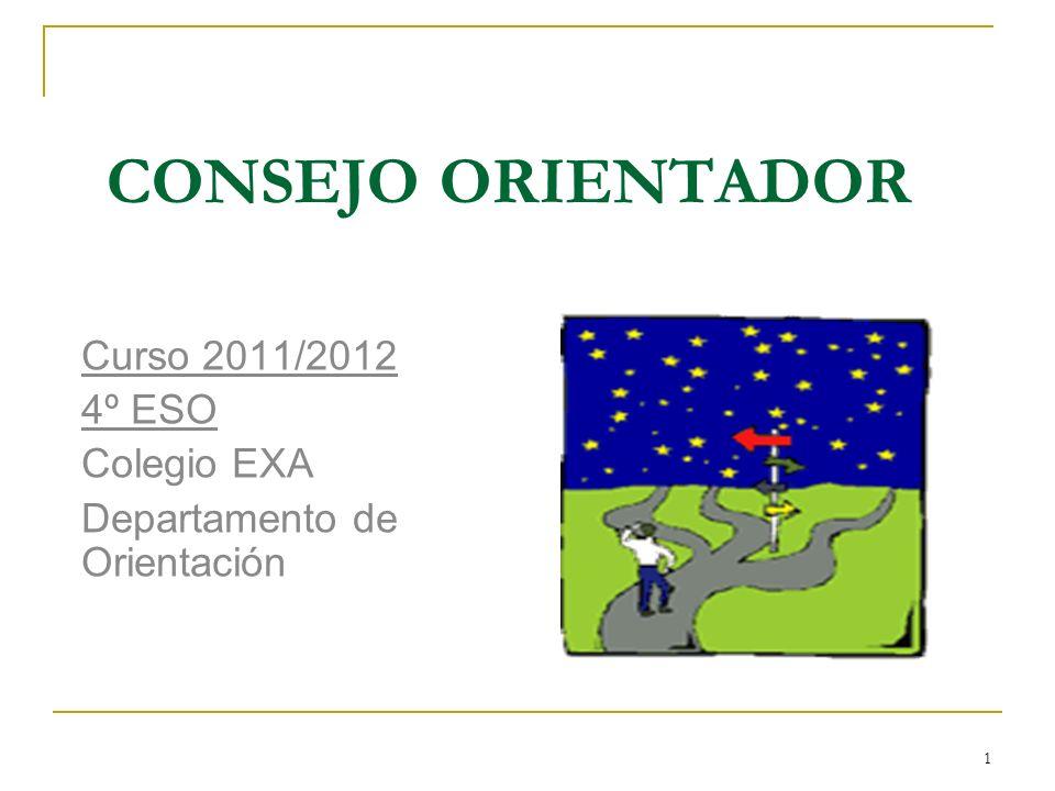 1 CONSEJO ORIENTADOR Curso 2011/2012 4º ESO Colegio EXA Departamento de Orientación