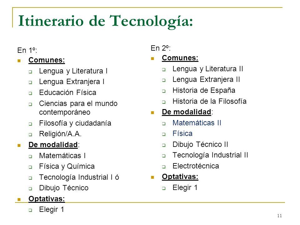 11 Itinerario de Tecnología: En 1º: Comunes: Lengua y Literatura I Lengua Extranjera I Educación Física Ciencias para el mundo contemporáneo Filosofía