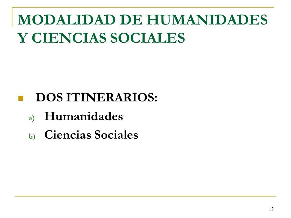 12 MODALIDAD DE HUMANIDADES Y CIENCIAS SOCIALES DOS ITINERARIOS: a) Humanidades b) Ciencias Sociales