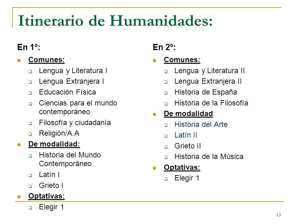 13 Itinerario de Humanidades: En 1º: Comunes: Lengua y Literatura I Lengua Extranjera I Educación Física Ciencias para el mundo contemporáneo Filosofí